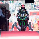 Speed demon: Jonathan Rea after taking provisional pole at Donington Park