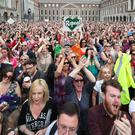 Thousands of people gathered in Dublin Castle to celebrate the result (Niall Carson/PA)