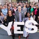 Health Minister Simon Harris, centre, was at the forefront of the Yes campaign (PA)