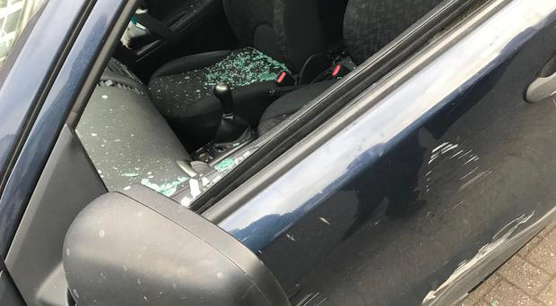 One of the cars which was damaged in the incident / Credit: Paul McCusker
