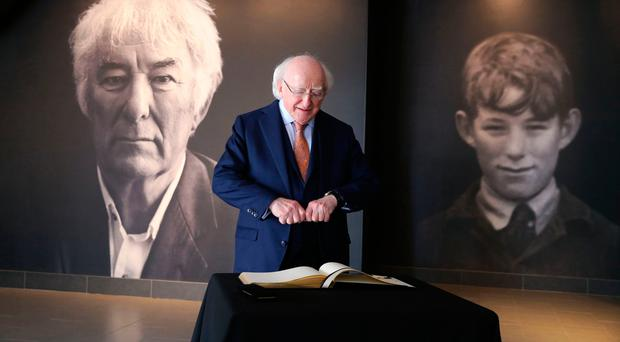 President of Ireland Michael D Higgins during his visit to the Seamus Heaney HomePlace