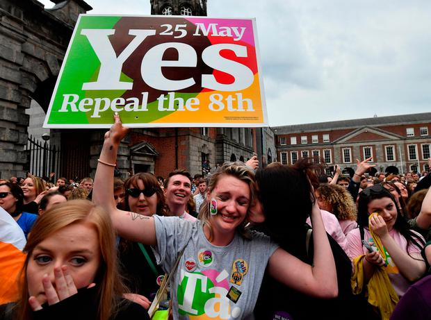 Crowds at Dublin Castle celebrating the Eighth Amendment being repealed