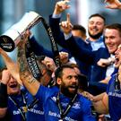 Blue day: Leinster's Isa Nacewa lifts the Pro14 trophy
