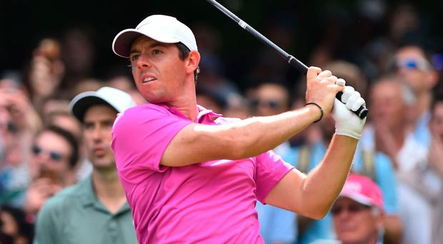 Northern Ireland's Rory McIlroy in action on the final day of the BMW PGA Championship.