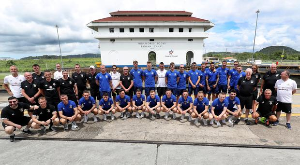 Panoramic view: Michael O'Neill and his Northern Ireland squad and staff at the Panama Canal last night