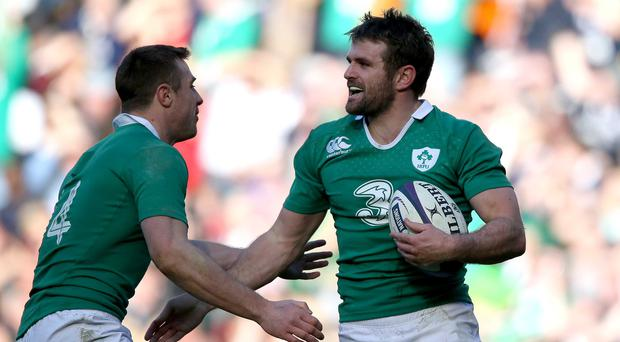 Jared Payne (right) celebrates scoring his first Ireland try, against Scotland on 'Super Saturday' in 2015.
