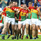High spirits: Carlow's players celebrate their win over Kildare