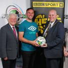 On the draw: (from left to right) broadcaster Jackie Fullerton; Linfield's Andy Waterworth; Councillor Paul Reid, Mayor of Mid and East Antrim; Bernie Candlish of Mid and East Antrim Borough Council; and tournament chairman Victor Leonard