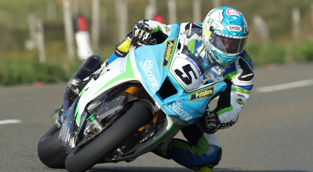Front man: Dean Harrison leads in TT practice last night