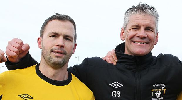David Rainey (left) is sure Gary Smyth (right) will be a big hit at Glentoran