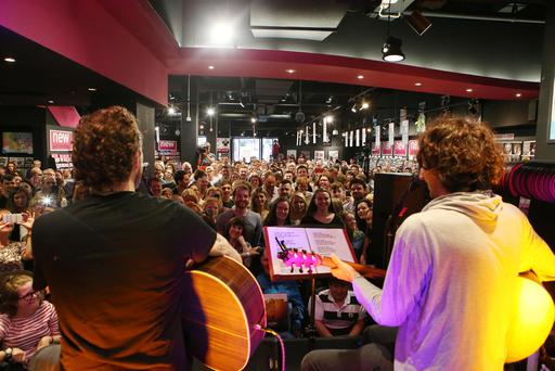Snow Patrol perform during a free gig at the HMV store in Belfast. Pic Pacemaker