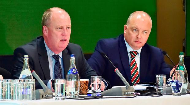 Chairman of the Police Federation Mark Lindsay (right) with PSNI Chief Constable George Hamilton yesterday