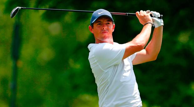 Rory rocking: Rory McIlroy struggles during the opening round of The Memorial Tournament