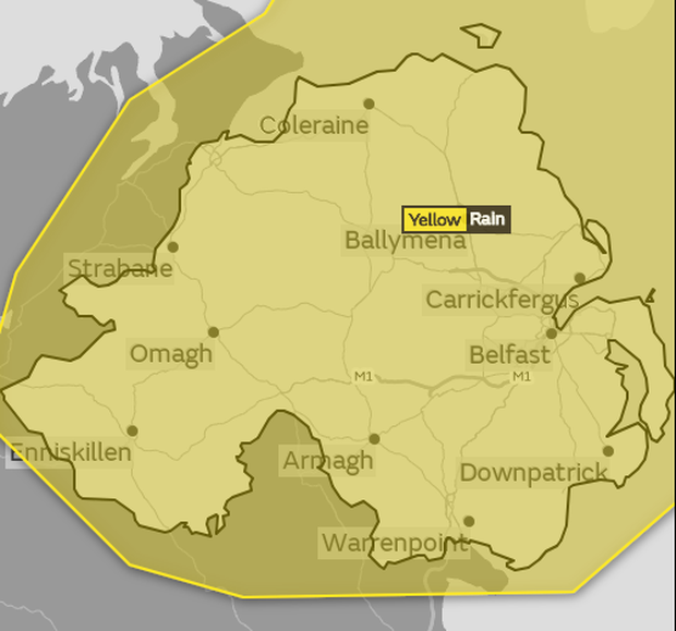 A yellow weather warning is in place for Northern Ireland.