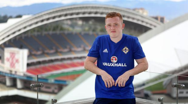 Northern Ireland's Shayne Lavery ahead of Northern Ireland's game against Costa Rica on Sunday.