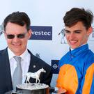 Family affair: trainer Aiden O'Brien and son Donnacha after Forever Together's win in the Investec Oaks yesterday