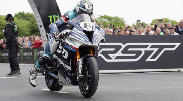 Michael Dunlop on the start line of the Superbike TT on the Tyco BMW. Picture by Stephen Davison.