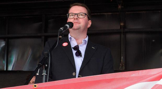 Labour MP Conor McGinn speaks at a marriage equality rally in Belfast.