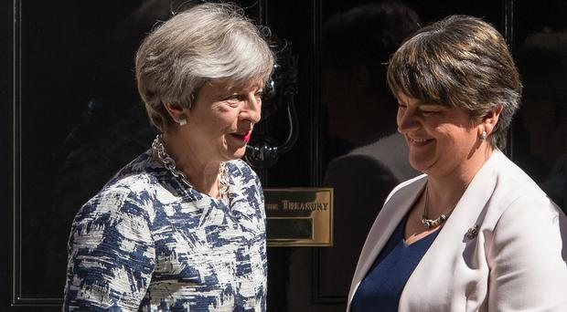 Theresa May and Arlene Foster (Dominic Lipinski/PA)