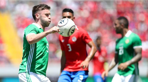 Costa Rica's Giancarlo Gonzalez with Northern Ireland's Shay McCartan during Sunday mornings International Friendly at the Nuevo Estadio Nacional de Costa Rica in San Jose. Photo by William Cherry/Presseye