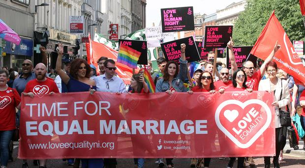 Equal marriage demonstrators at march in Belfast on Saturday