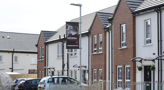 Banners in Belfast's Cantrell Close. The banners around Cantrell Close and Global Crescent depict atrocities including the La Mon bombing, Ballymacarrett murder, Bloody Friday, the Mountainview tavern bombing as well as the Shankill and Enniskillen bombings. Picture By :Arthur Allison, Pacemaker.