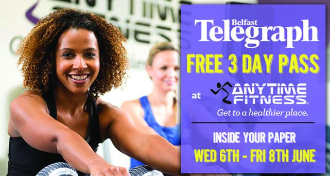Enjoy your free 3 day gym pass for Anytime Fitness.