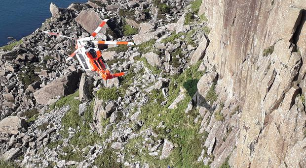 North West Mountain Rescue Team were involved in a dramatic rescue and evacuation operation at the cliffs at Fair Head in north County Antrim. Credit: North West Mountain Rescue Team