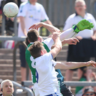 Net gains: Fermanagh ace Eoin Donnelly bags a late goal in his side's win over Monaghan
