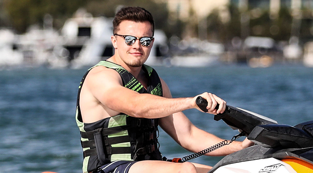 Ski Monday: Jacob Stockdale enjoys some down time during Ireland's tour in Australia with a spot of jet-skiing on the Gold Coast