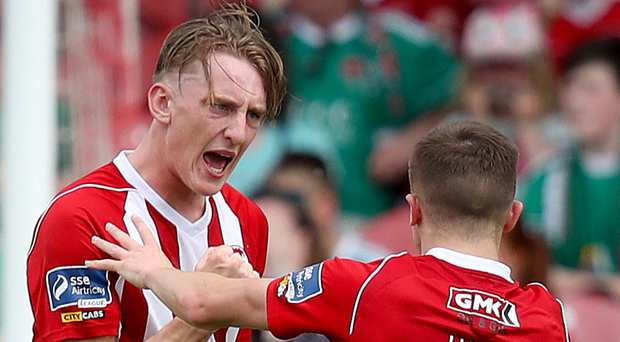 In vain: Derry City's Ronan Curtis celebrates with Rory Hale after scoring a goal