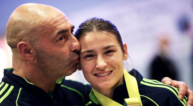 Boxing coach Pete Taylor with his daughter, Olympic gold medallist Katie Taylor (Brian Lawless/PA)