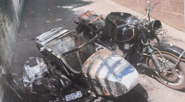 After the attack - the stolen motorbike & sidecar