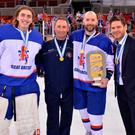 Golden guys: (from left) Jackson Whistle, Jason 'Taff' Ellery, Colin Shields and Adam Keefe after Team GB won gold in April