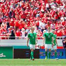 Tough test: Northern Ireland players look glum after conceding against Costa Rica in San Jose