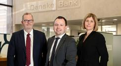 Pictured from left is Mark Purdue, BT Business, Danske Bank Chief Digital Officer Søren Rode Andreasen and Danske Bank Human Resources Director Caroline van der Feltz.