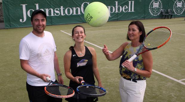 Launch: Kerry McCaughan of Johnston Campbell (right); Ross McCarey, Director of Tennis at Downshire Tennis Club (left) and Emily Beatty of Downshire Tennis Club (centre)