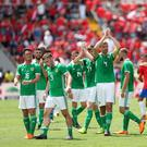 Northern Ireland players after their friendly against Costa Ricain San Jose