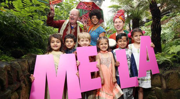 Carolyn Stewart, U105 presenter who will host the Belfast Mela stage with UTV's Paul Reilly and Julian Simmons this year along with budding performers Jacob and Jasmin from Lisburn and Ameila, Noa, Maya and Prasad from Belfast ©Press Eye/Darren Kidd