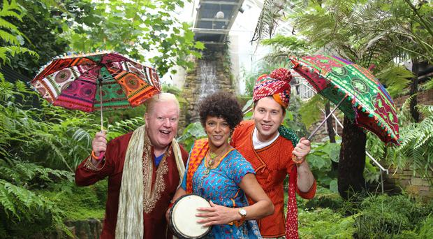 UTV's Paul Reilly and Julian Simmons who will host the Belfast Mela stage this year with Carolyn Stewart, U105 presenter ©Press Eye/Darren Kidd