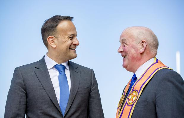 Taoiseach Leo Varadkar meets Orange grand master Edward Stevenson visits the Museum of Orange Heritage in Belfast on June 8th 2018 (Picture by Kevin Scott / Belfast Telegraph)