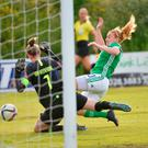Goal threat: Northern Ireland's Rachel Furness closes in on Netherlands keeper Sari van Veenendaal last night