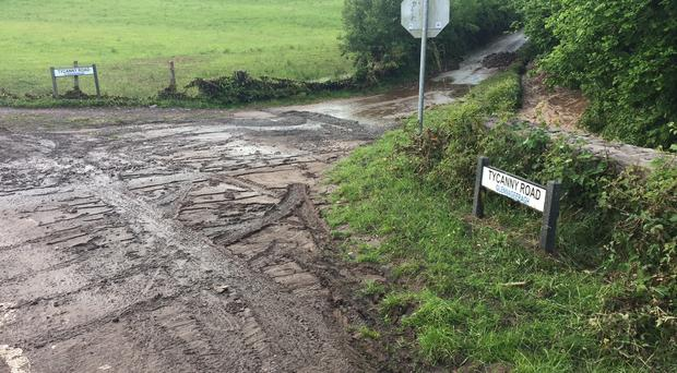Debris has been washed onto many roads in Clogher Valley. Credit: DUP