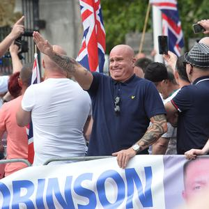 A rally at Belfast City hall on Saturday in support of Tommy Robinson, the founder of the far-right English Defence League, who was jailed for 13 months for contempt of court after broadcasting an hour-long video over Facebook from outside Leeds crown court. Pic Pacemaker