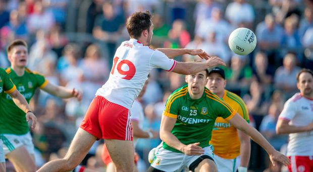 Harry's game: Harry Loughran scores a goal in extra-time for Tyrone against Meath