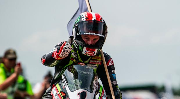Thumbs up: Jonathan Rea after his 60th Superbike win