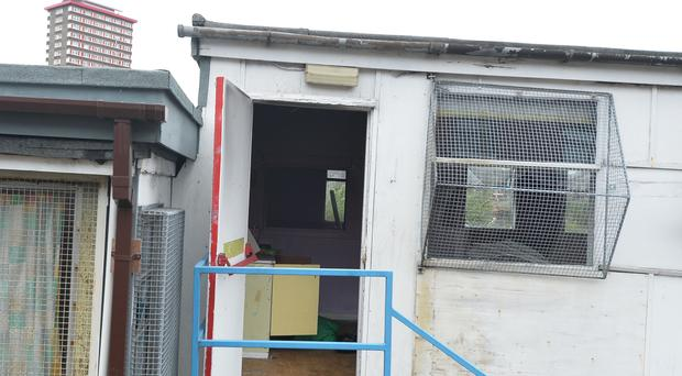 Damage caused to five mobile classrooms beside a primary school at Barrack Street in Belfast.