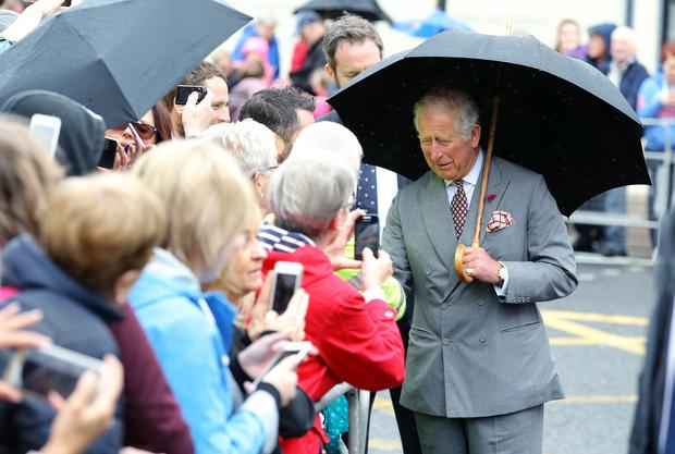 The Prince of Wales has visited the Memorial Garden in Omagh Town Centre where a floral tribute was laid. Photo by Kelvin Boyes / Press Eye.