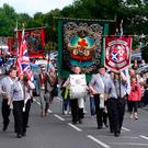 The Royal Black Institution on parade in Ballyclare