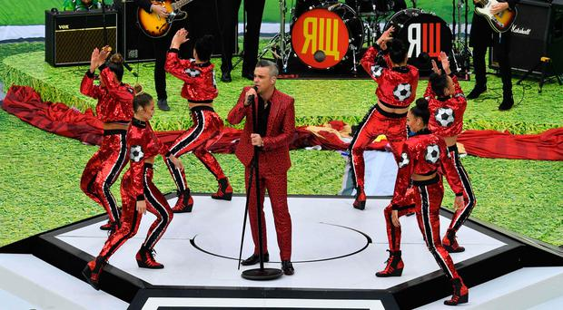 Robbie Williams performs during the opening ceremony before the Russia 2018 World Cup (AFP/Getty Images)
